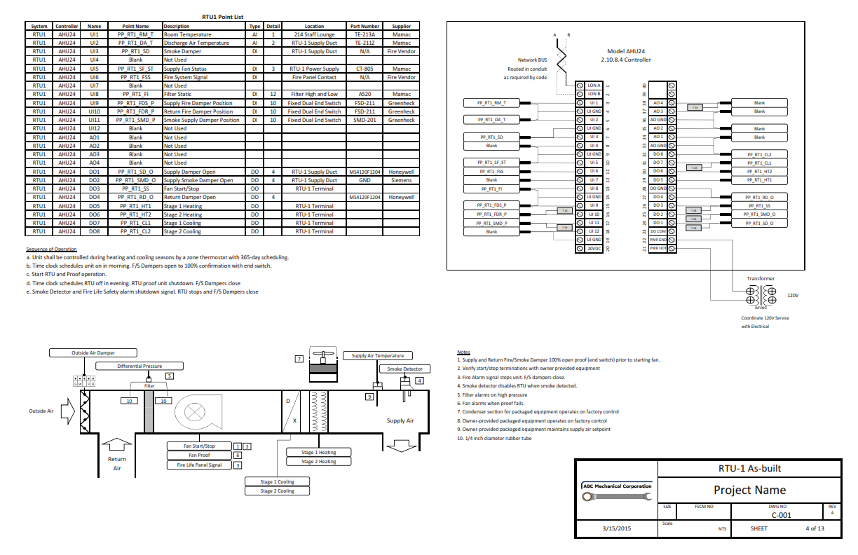 Klowdbuilder Hvac Controls Engineering Drawing Program Sample Submittal Point Table Etc